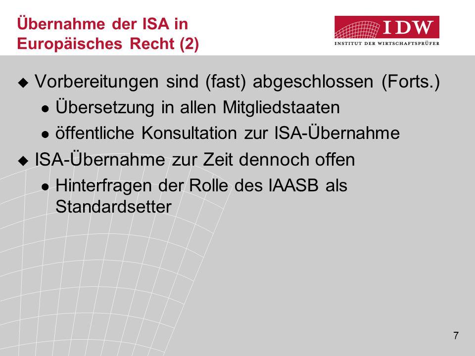 Übernahme der ISA in Europäisches Recht (2)