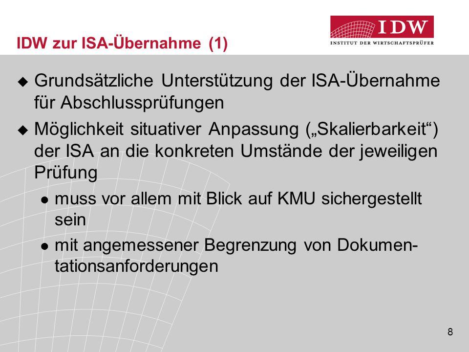 IDW zur ISA-Übernahme (1)