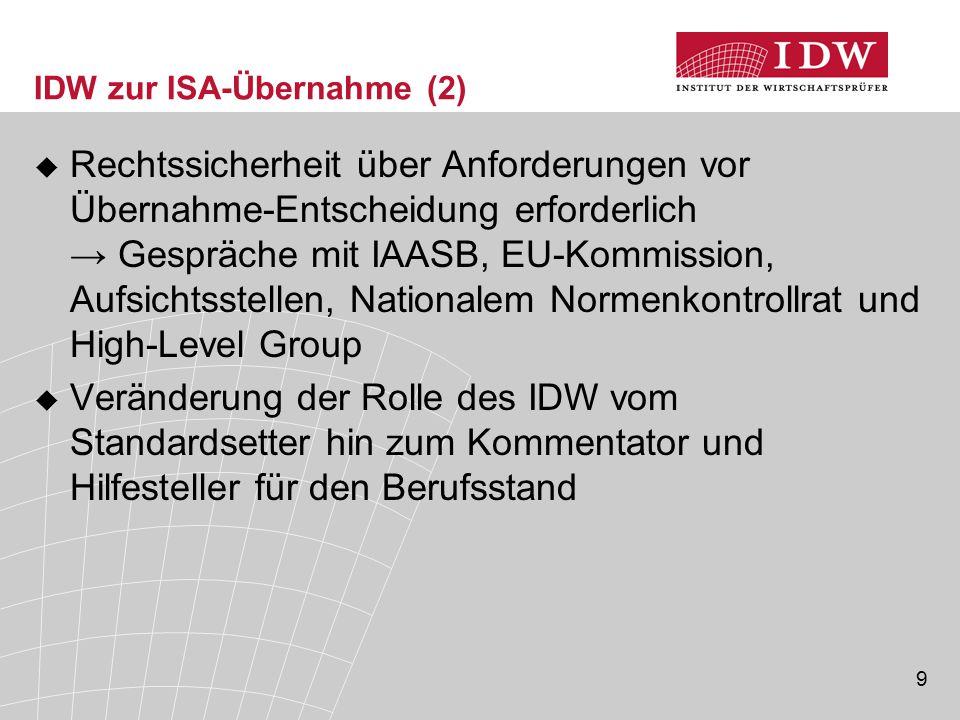 IDW zur ISA-Übernahme (2)