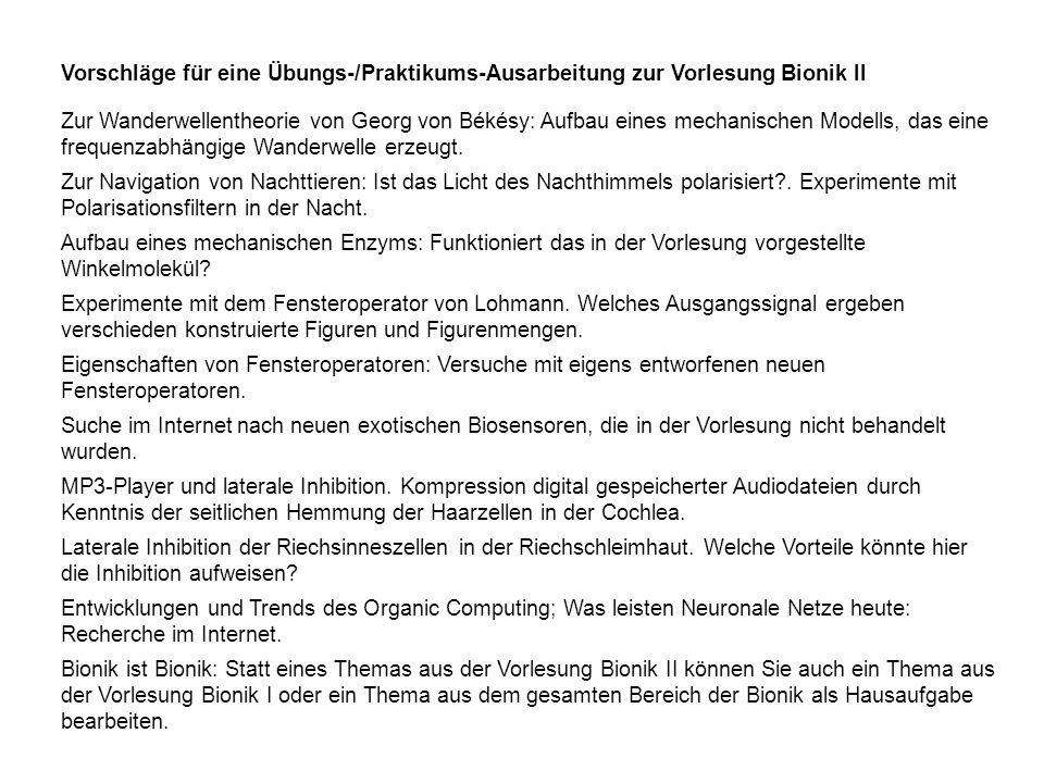 Vorschläge für eine Übungs-/Praktikums-Ausarbeitung zur Vorlesung Bionik II