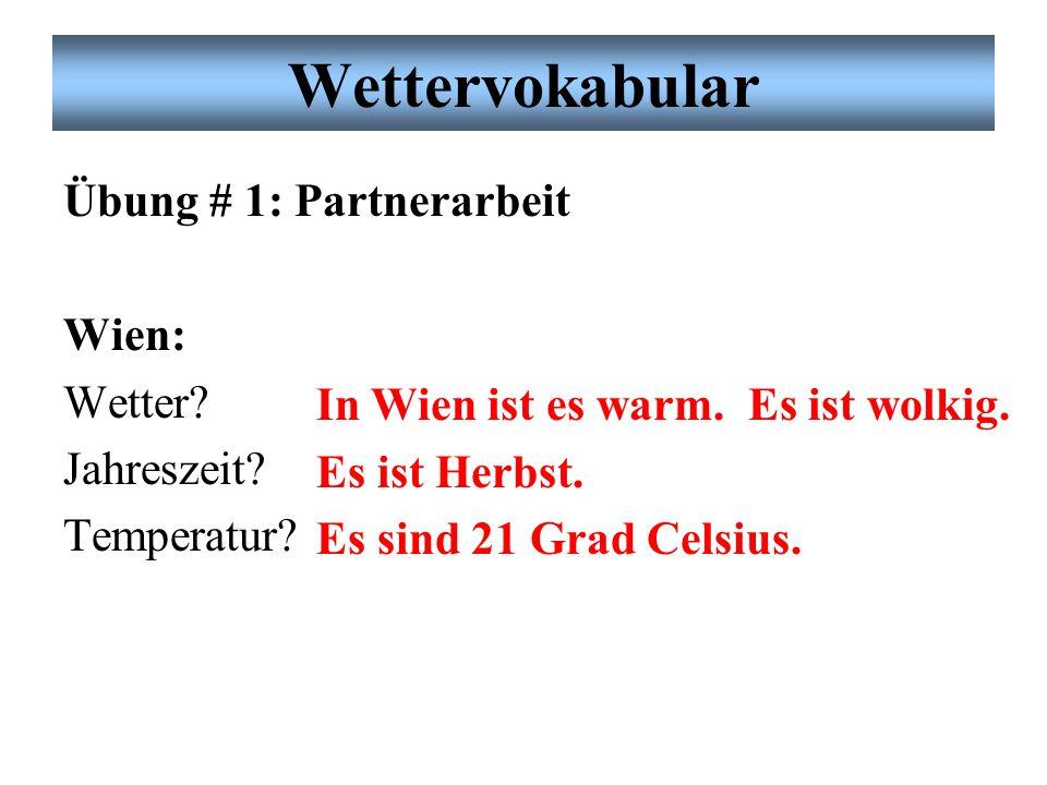 Wettervokabular Übung # 1: Partnerarbeit Wien: Wetter Jahreszeit