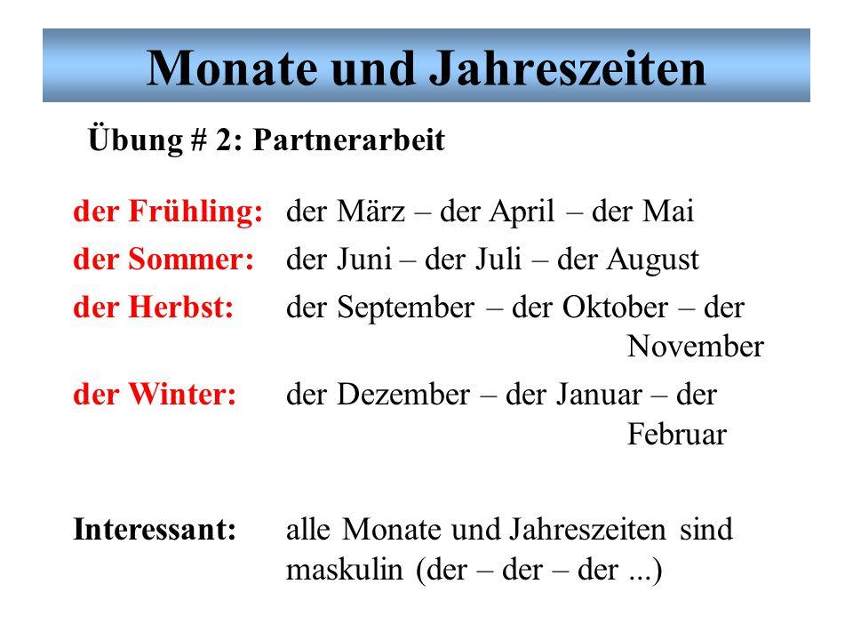 Monate und Jahreszeiten