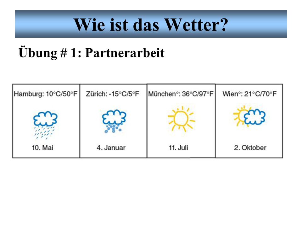 Wie ist das Wetter Übung # 1: Partnerarbeit