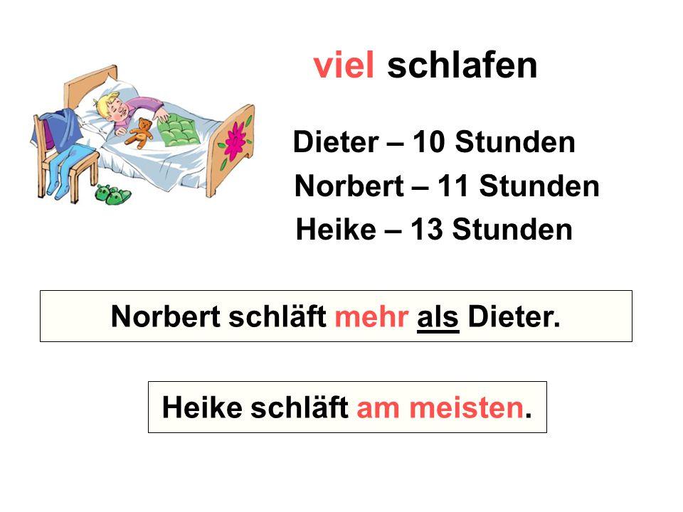 viel schlafen Dieter – 10 Stunden Norbert – 11 Stunden