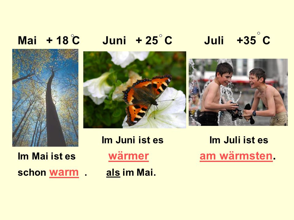 Mai + 18 C Juni + 25 C Juli +35 C Im Juni ist es Im Juli ist es