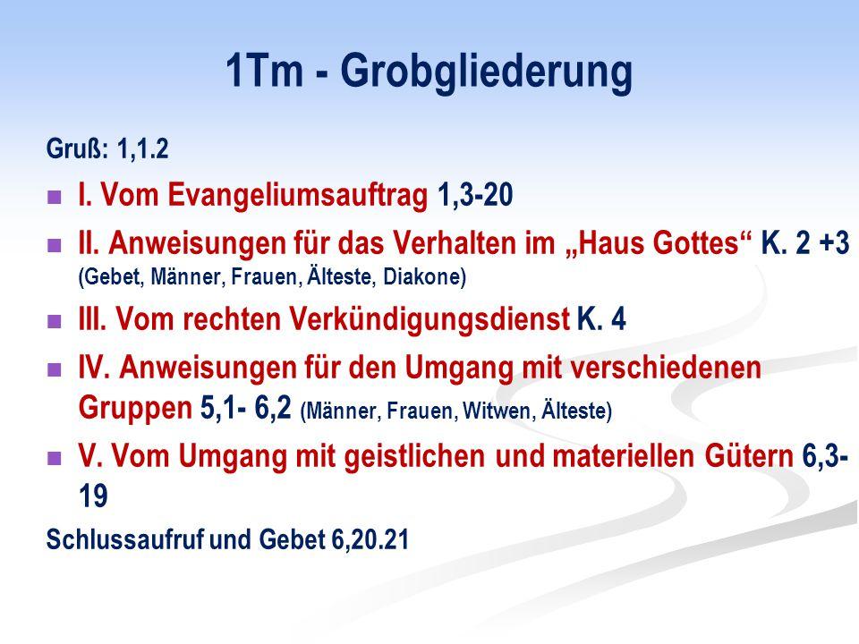 1Tm - Grobgliederung I. Vom Evangeliumsauftrag 1,3-20