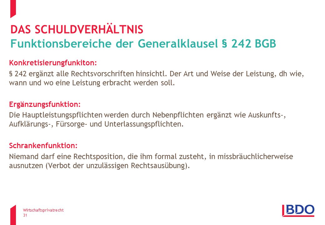 Funktionsbereiche der Generalklausel § 242 BGB