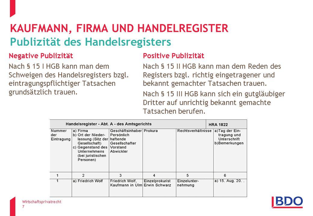 Kaufmann, firma und Handelregister