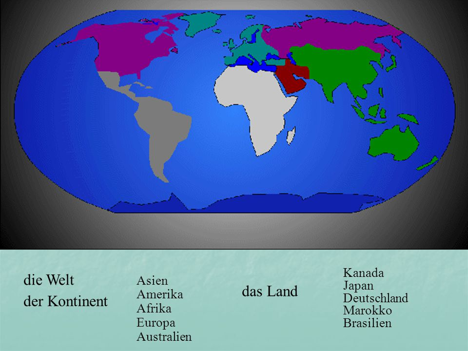die Welt das Land der Kontinent Kanada Asien Japan Amerika Deutschland