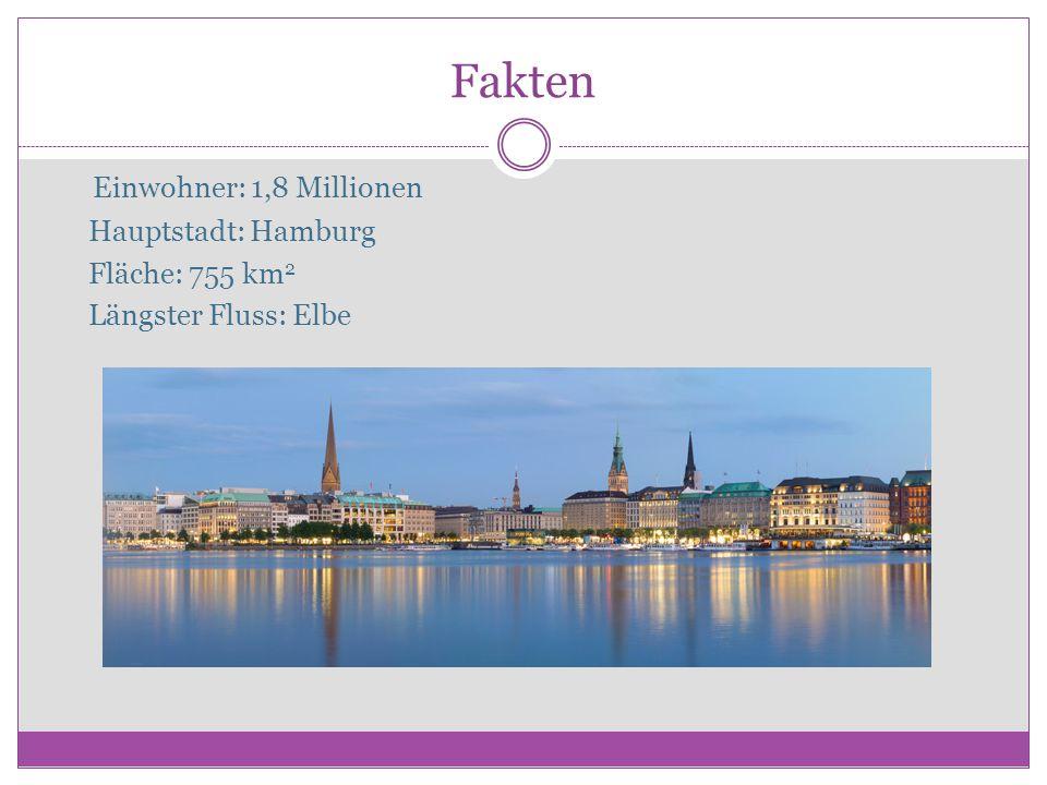 Fakten Εinwohner: 1,8 Millionen Hauptstadt: Hamburg Fläche: 755 km2