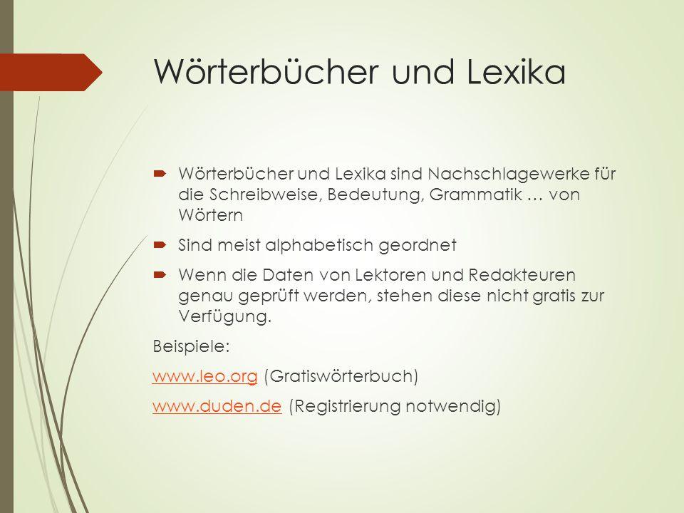 Wörterbücher und Lexika