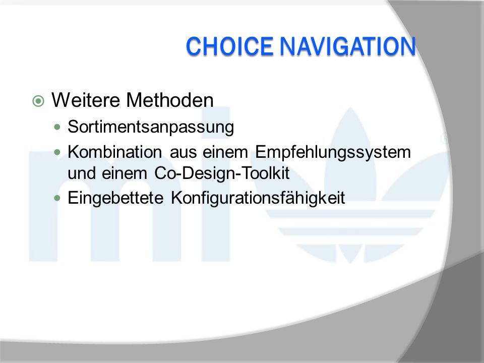 Choice Navigation Weitere Methoden Sortimentsanpassung