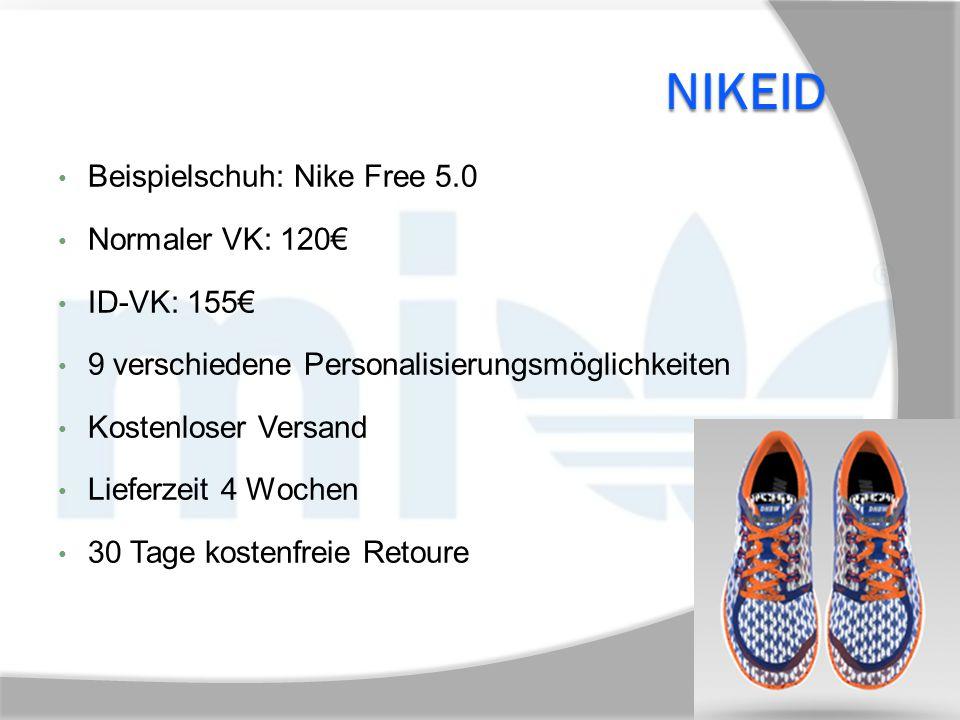 NikeID Beispielschuh: Nike Free 5.0 Normaler VK: 120€ ID-VK: 155€