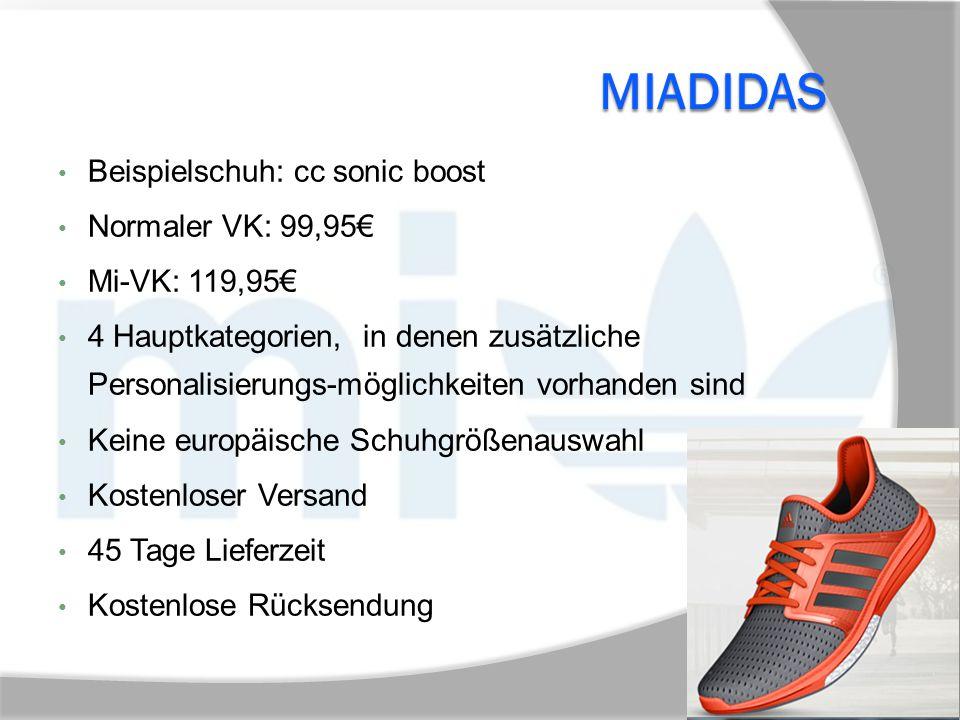 MiAdidas Beispielschuh: cc sonic boost Normaler VK: 99,95€