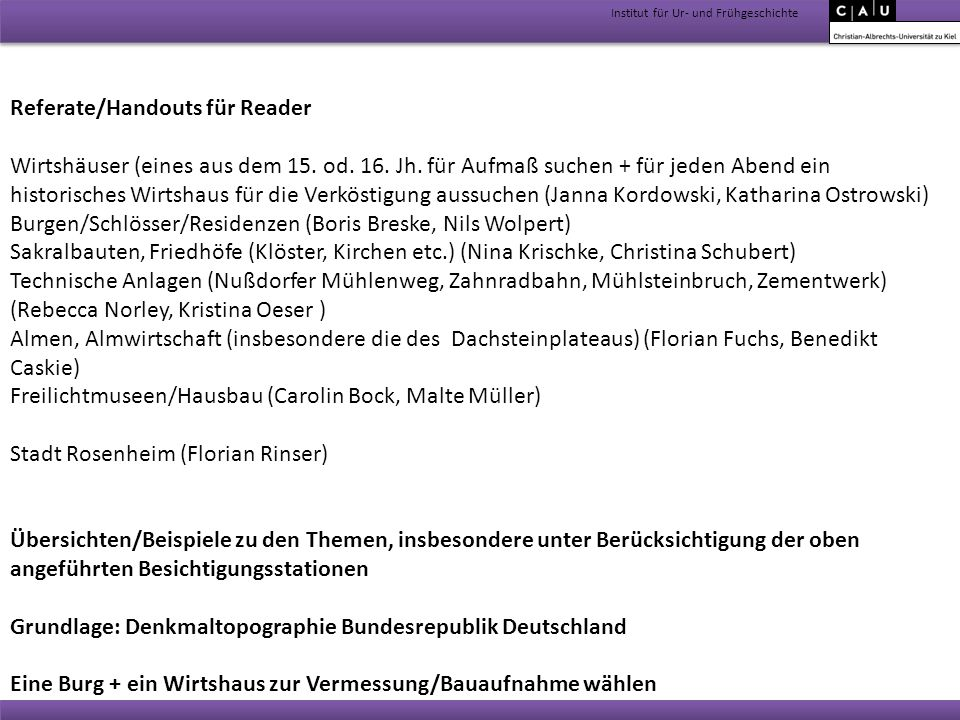 Referate/Handouts für Reader
