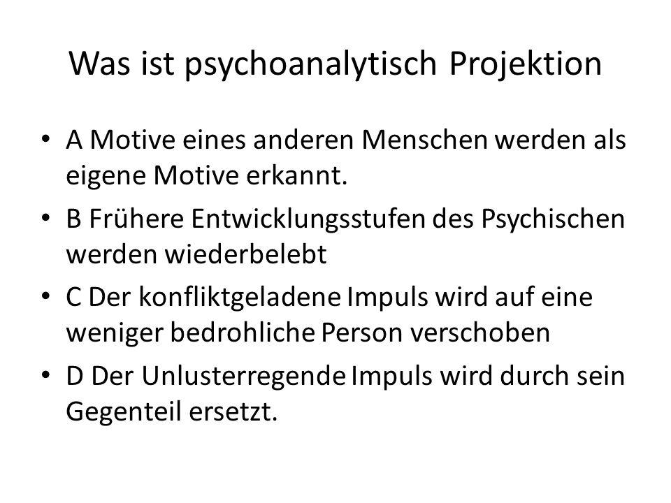 Was ist psychoanalytisch Projektion