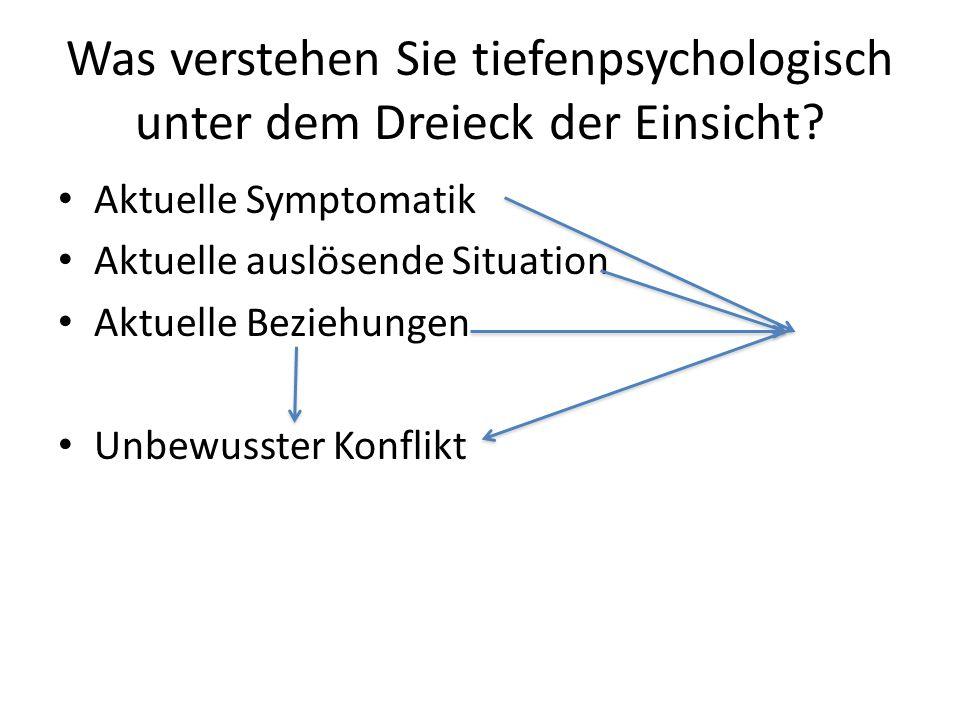 Was verstehen Sie tiefenpsychologisch unter dem Dreieck der Einsicht