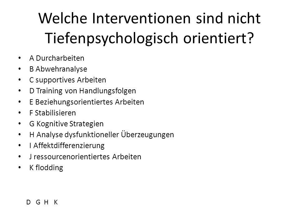 Welche Interventionen sind nicht Tiefenpsychologisch orientiert