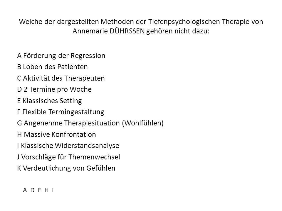 Welche der dargestellten Methoden der Tiefenpsychologischen Therapie von Annemarie DÜHRSSEN gehören nicht dazu: