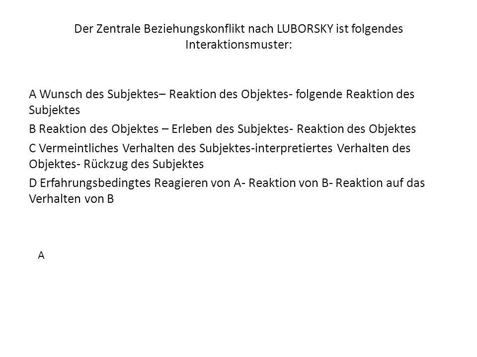 Der Zentrale Beziehungskonflikt nach LUBORSKY ist folgendes Interaktionsmuster: