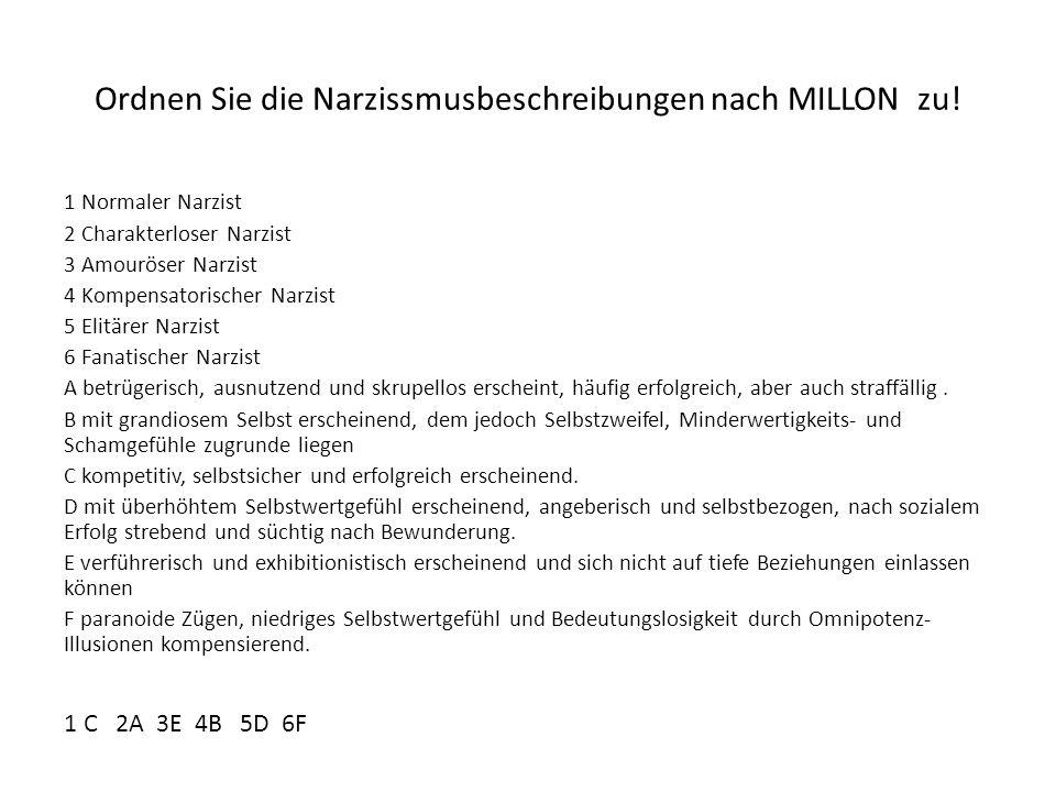 Ordnen Sie die Narzissmusbeschreibungen nach MILLON zu!