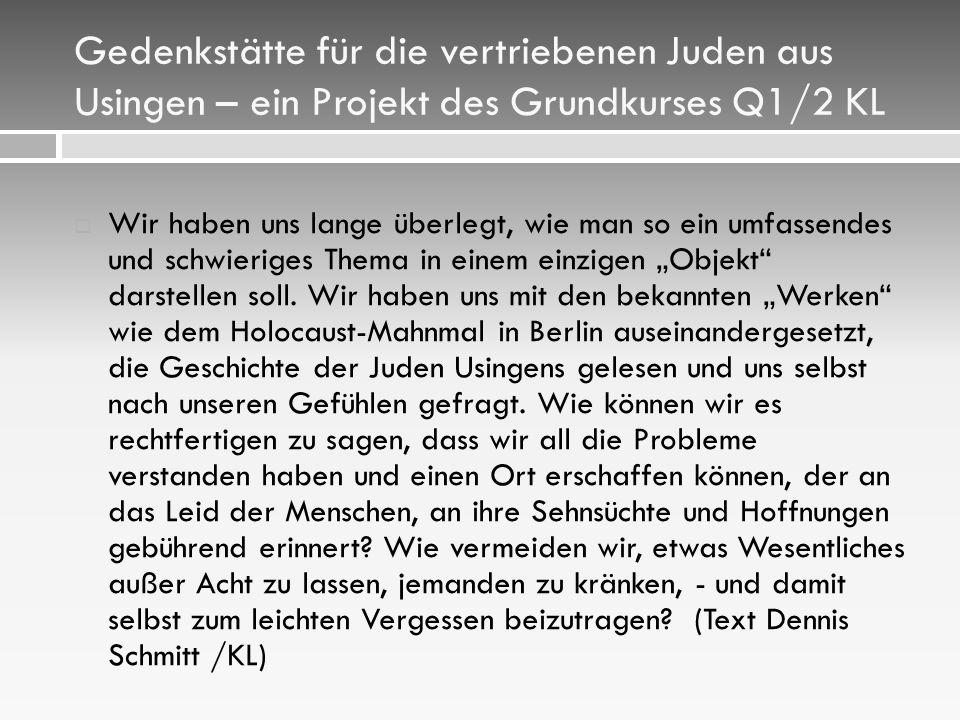 Gedenkstätte für die vertriebenen Juden aus Usingen – ein Projekt des Grundkurses Q1/2 KL
