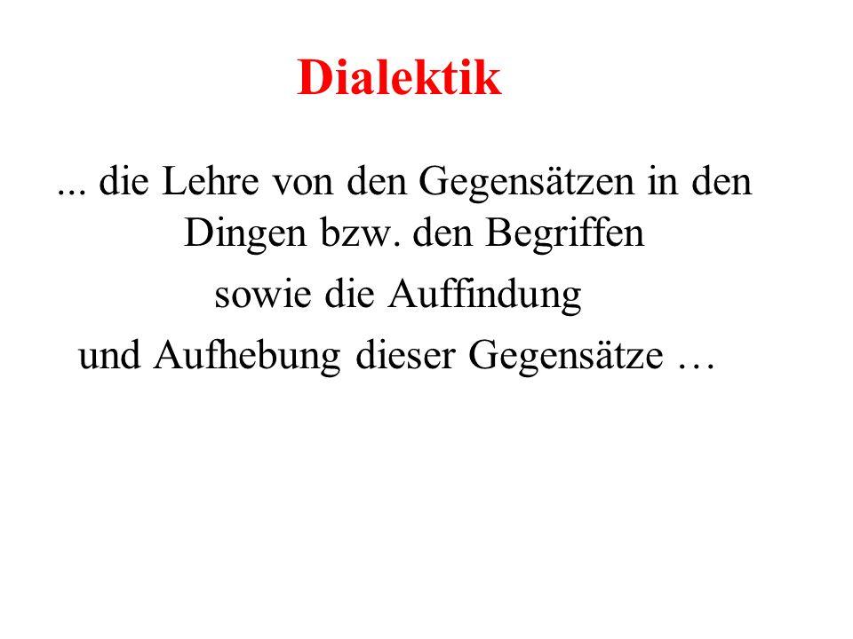 Dialektik ... die Lehre von den Gegensätzen in den Dingen bzw. den Begriffen. sowie die Auffindung.
