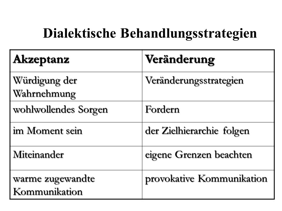 Dialektische Behandlungsstrategien