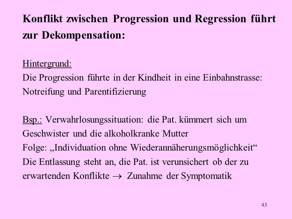 Konflikt zwischen Progression und Regression führt zur Dekompensation: