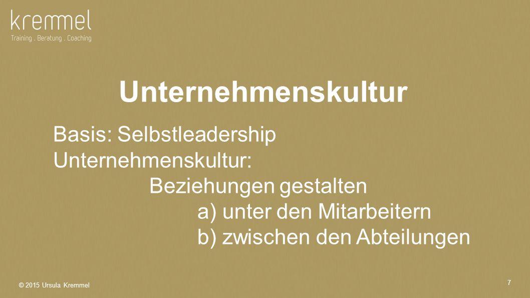 Unternehmenskultur Basis: Selbstleadership Unternehmenskultur: