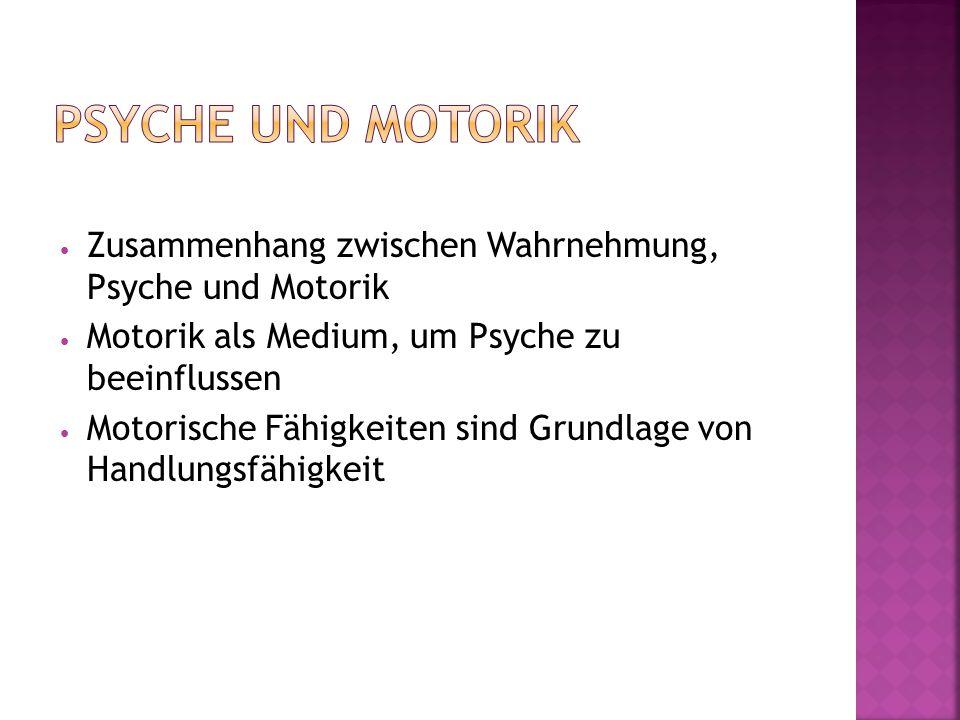 Psyche und Motorik Zusammenhang zwischen Wahrnehmung, Psyche und Motorik. Motorik als Medium, um Psyche zu beeinflussen.