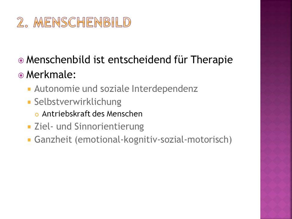 2. Menschenbild Menschenbild ist entscheidend für Therapie Merkmale: