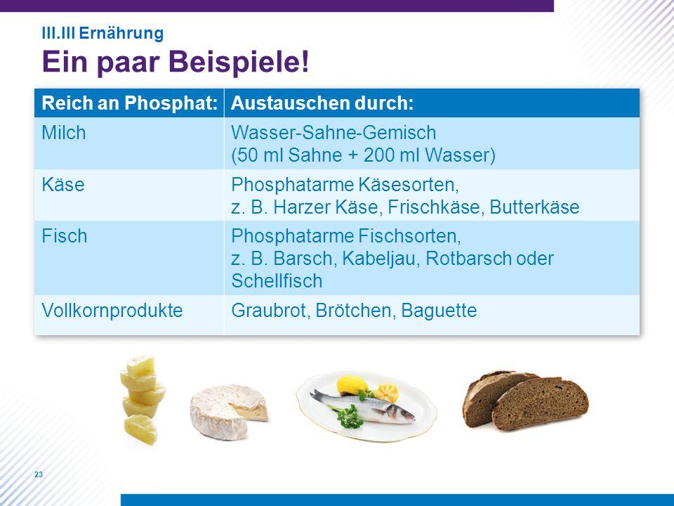 Ein paar Beispiele! Reich an Phosphat: Austauschen durch: Milch
