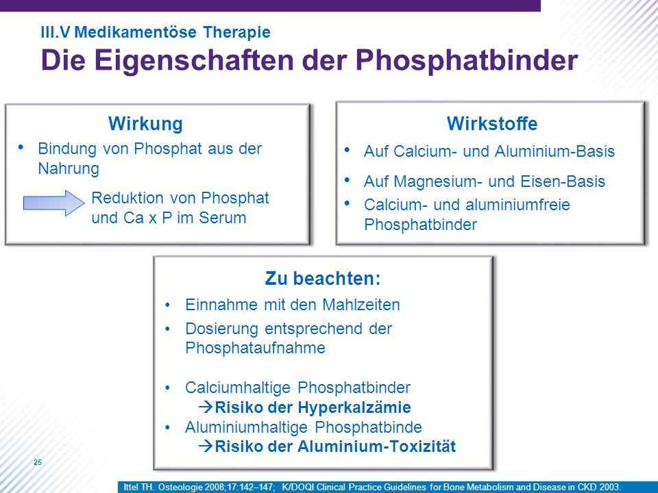 Die Eigenschaften der Phosphatbinder