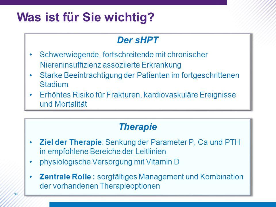 Was ist für Sie wichtig Der sHPT Therapie