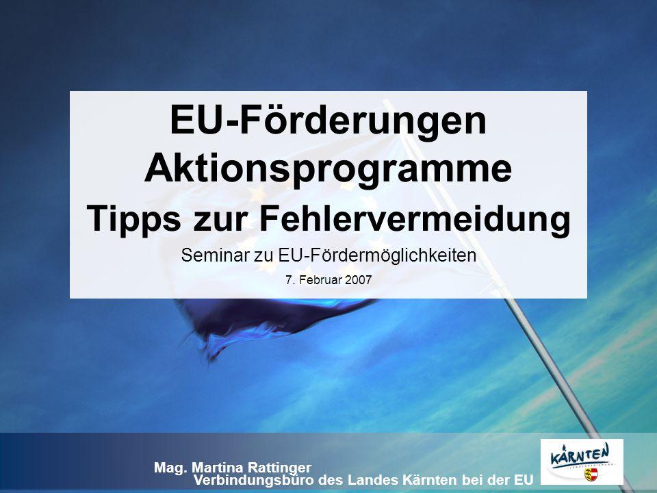 EU-Förderungen Aktionsprogramme Tipps zur Fehlervermeidung