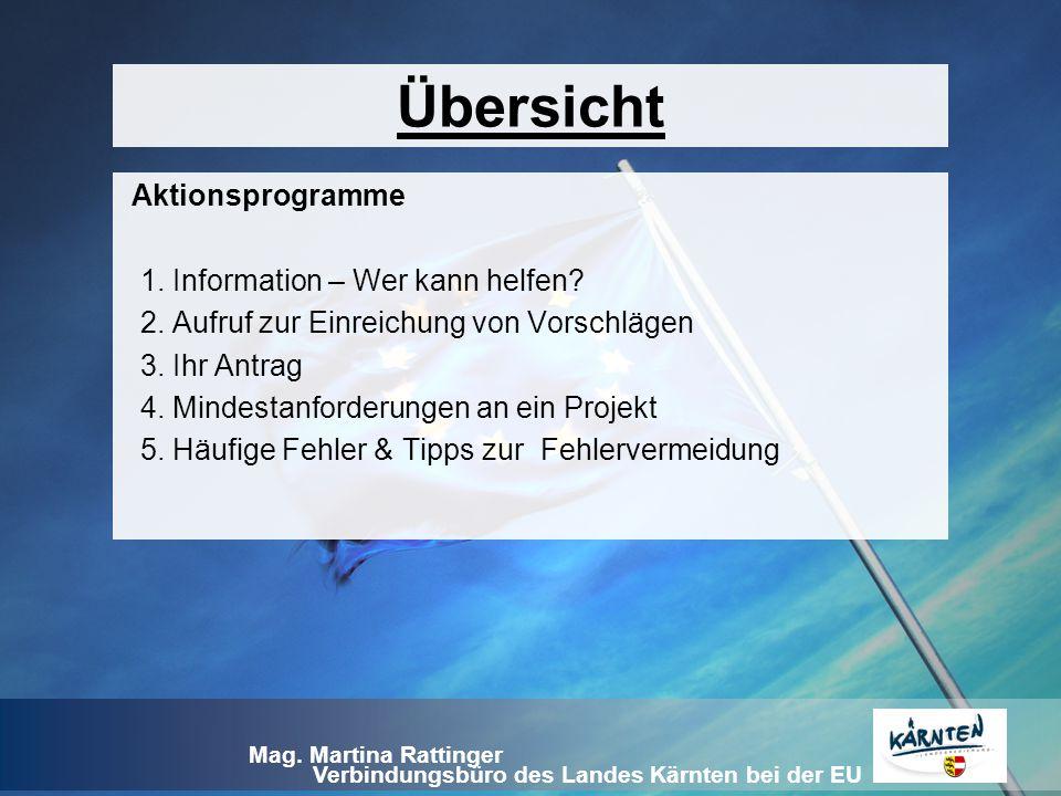 Übersicht Aktionsprogramme 1. Information – Wer kann helfen