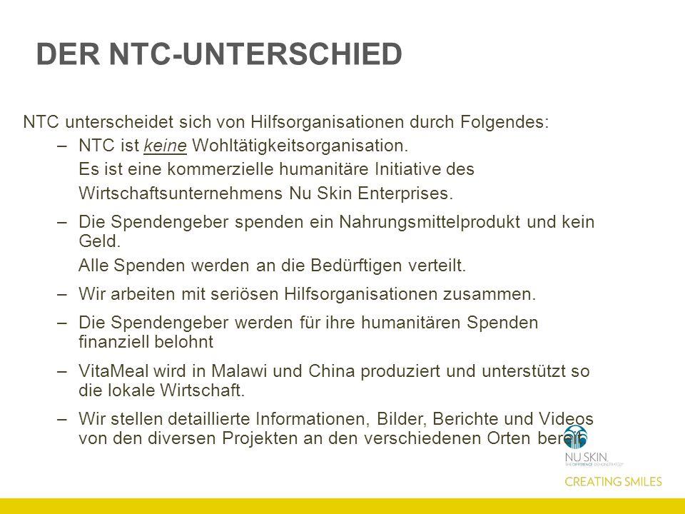 DER NTC-UNTERSCHIED NTC unterscheidet sich von Hilfsorganisationen durch Folgendes: NTC ist keine Wohltätigkeitsorganisation.