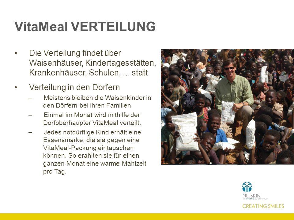 VitaMeal VERTEILUNG Die Verteilung findet über Waisenhäuser, Kindertagesstätten, Krankenhäuser, Schulen, ... statt.