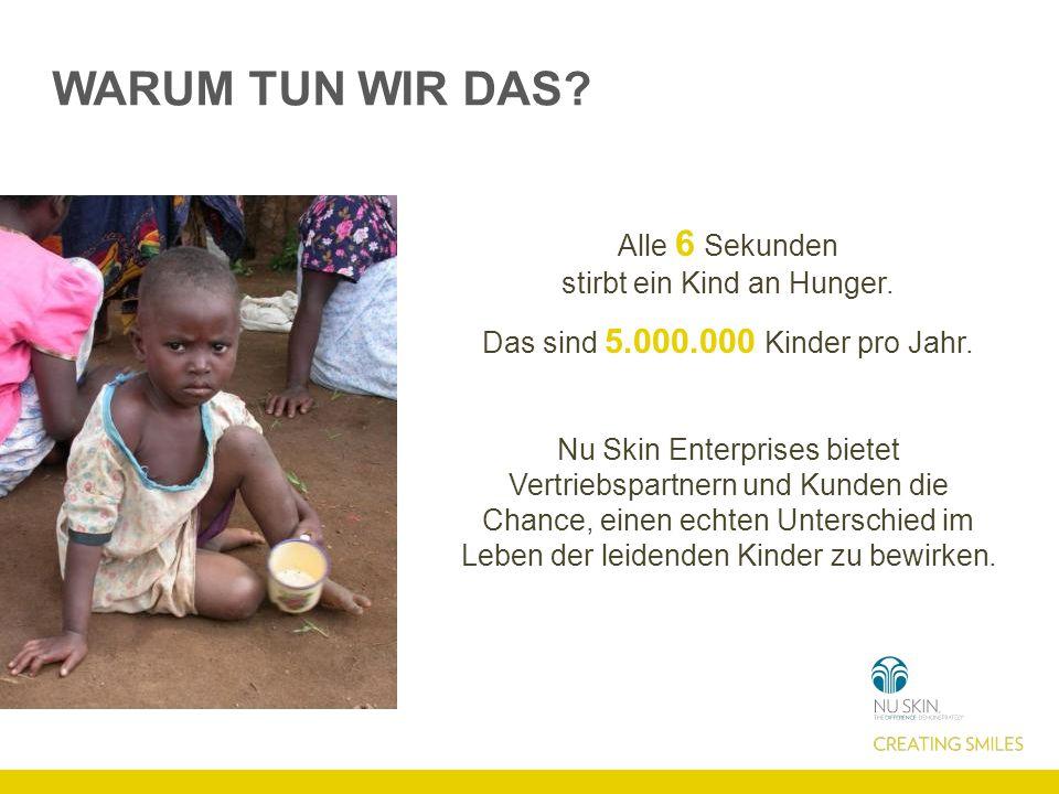 WARUM TUN WIR DAS Alle 6 Sekunden stirbt ein Kind an Hunger.