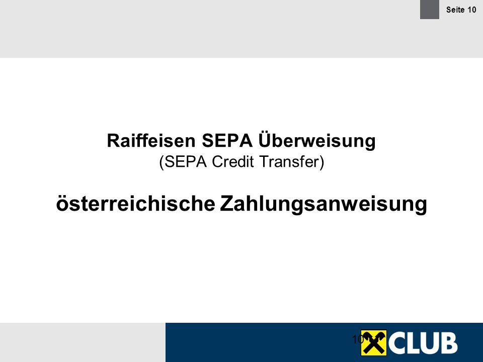 Raiffeisen SEPA Überweisung (SEPA Credit Transfer) österreichische Zahlungsanweisung