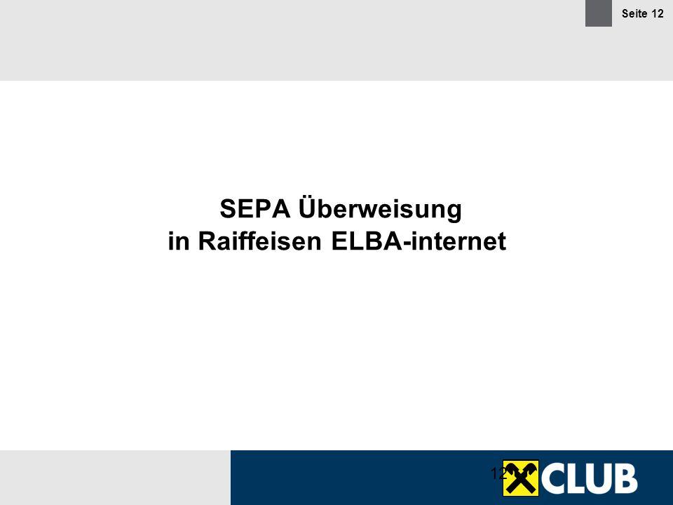 SEPA Überweisung in Raiffeisen ELBA-internet