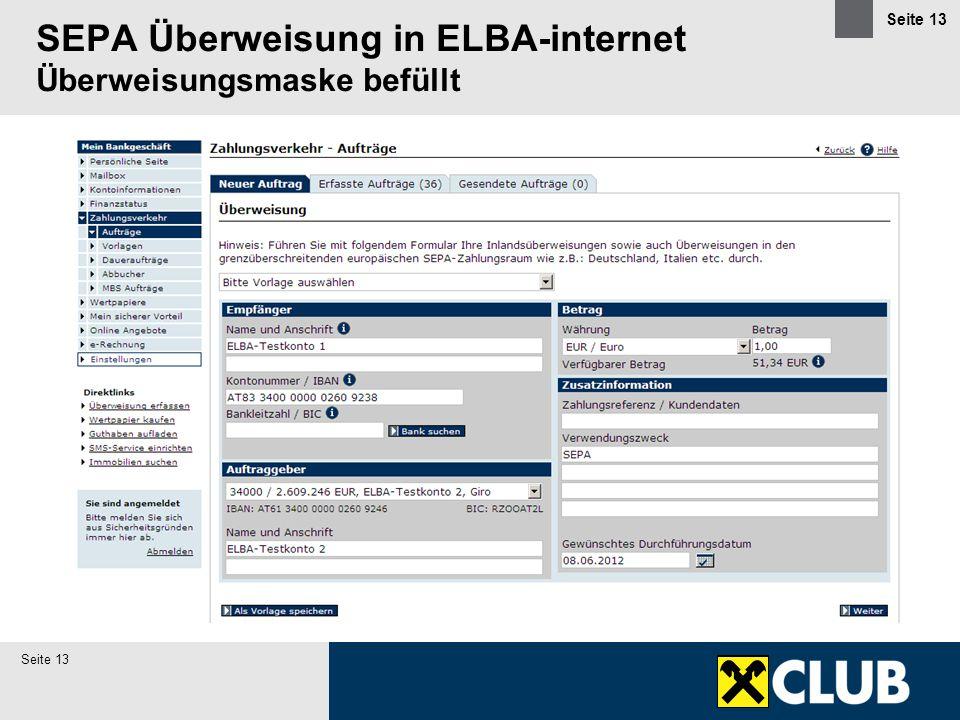 SEPA Überweisung in ELBA-internet Überweisungsmaske befüllt