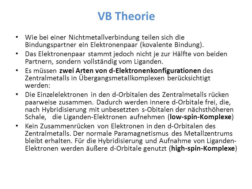 VB Theorie Wie bei einer Nichtmetallverbindung teilen sich die Bindungspartner ein Elektronenpaar (kovalente Bindung).
