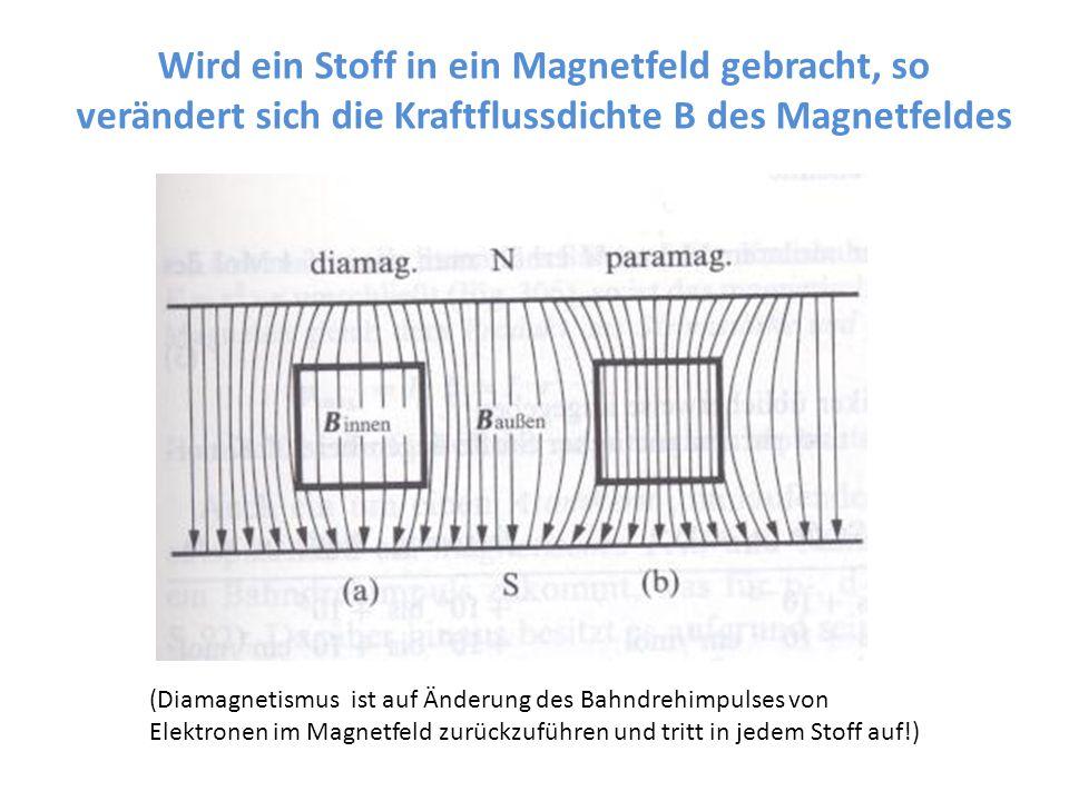 Wird ein Stoff in ein Magnetfeld gebracht, so verändert sich die Kraftflussdichte B des Magnetfeldes