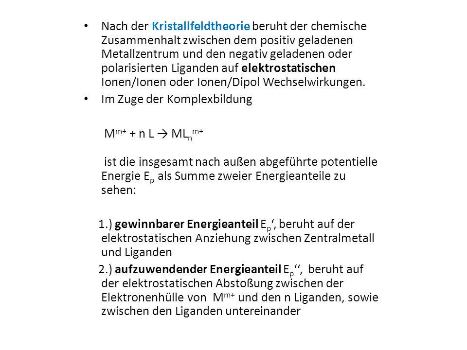 Nach der Kristallfeldtheorie beruht der chemische Zusammenhalt zwischen dem positiv geladenen Metallzentrum und den negativ geladenen oder polarisierten Liganden auf elektrostatischen Ionen/Ionen oder Ionen/Dipol Wechselwirkungen.