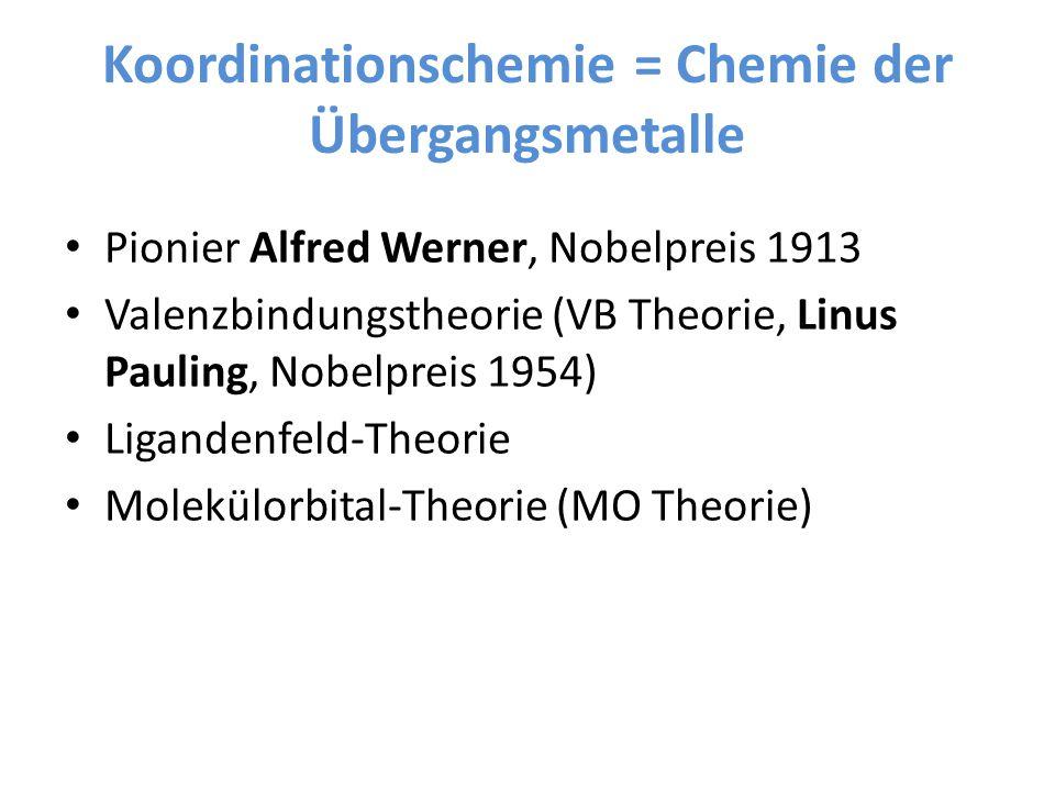 Koordinationschemie = Chemie der Übergangsmetalle