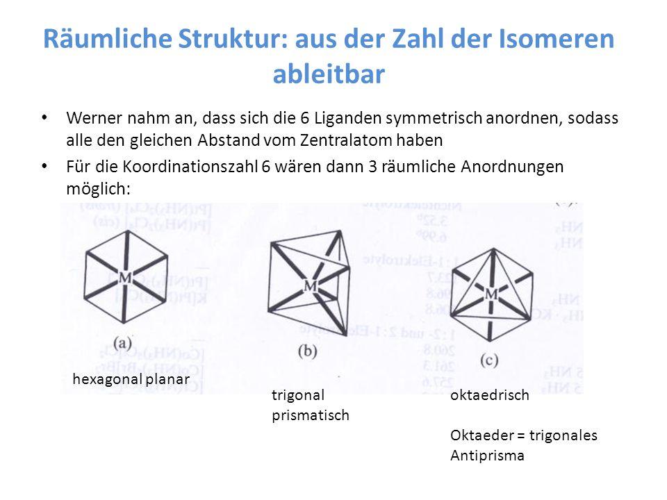 Räumliche Struktur: aus der Zahl der Isomeren ableitbar