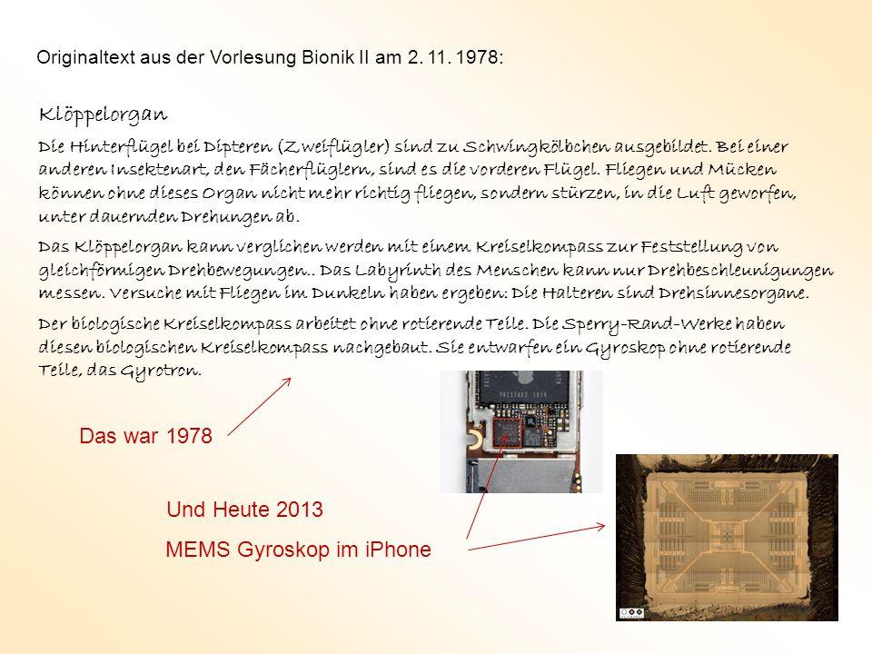Klöppelorgan Das war 1978 Und Heute 2013 MEMS Gyroskop im iPhone
