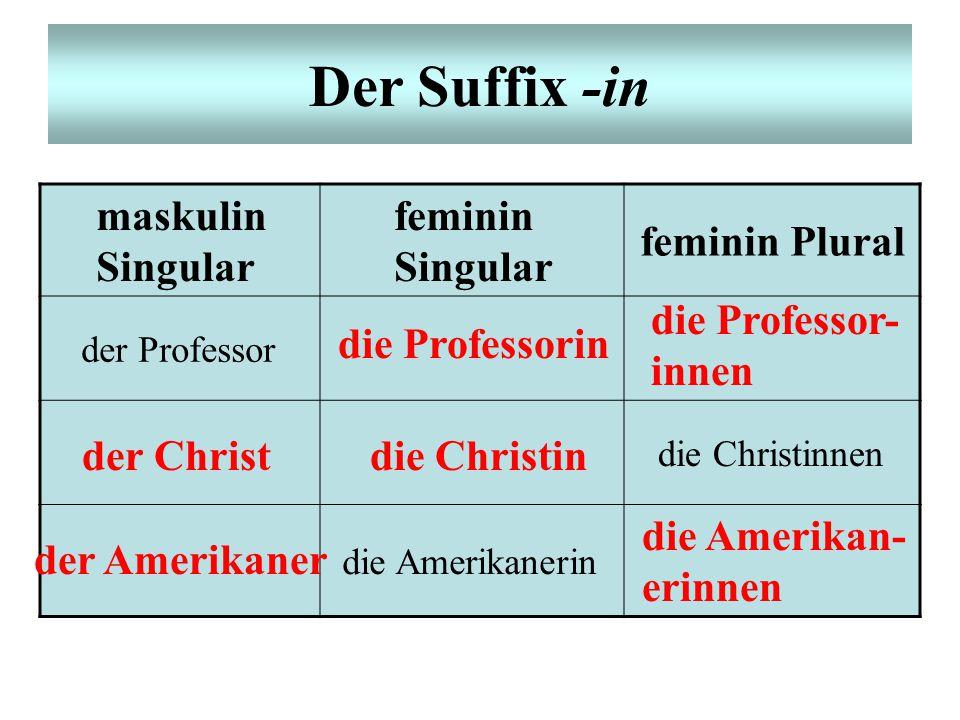 Der Suffix -in maskulin Singular feminin Singular feminin Plural